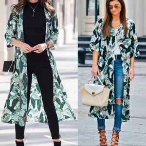 RACHAEL ZOE botanic palm print kimono robe coverup